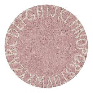 Vloerkleed Round ABC Pink van Lorena Canals - My Little Carpet