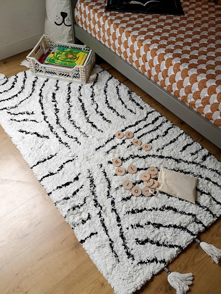 Goede KidsDepot Vloerkleed Berber Zwart-wit 150 x 80 cm - My Little Carpet BO-44
