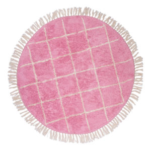 Vloerkleed Round Pink Crosses van Tapis Petit - My Little Carpet