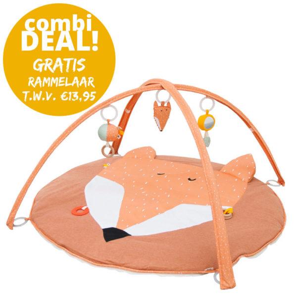 Combideal: Activiteiten Speelmat Met Babygym + Activiteitenbal + GRATIS Rammelaar, Mr. Fox van Trixie Baby – My Little Carpet