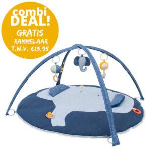 Combideal: Activiteiten Speelmat Met Babygym + Activiteitenbal + GRATIS Rammelaar, Mrs. Elephant van Trixie Baby – My Little Carpet