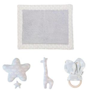 Combideal: Boxkleed + Muziekmobiel + Bijtring + Rammelaar, Clouds van Trixie Baby – My Little Carpet