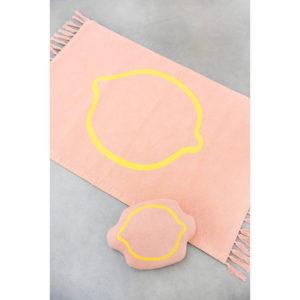 Combideal: Gebreid Vloerkleed Knitted Rug + Gebreid Knuffel Kussen, Lemon Squash van Trixie Baby – My Little Carpet