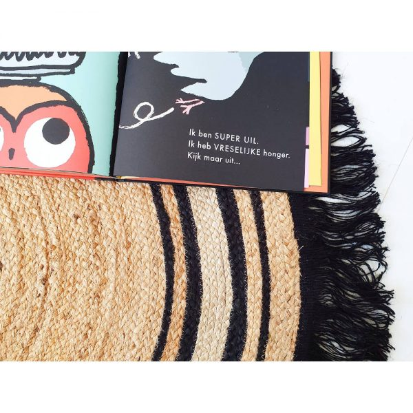 Rond vloerkleed Jute Tess Black van Tapis Petit - My Little Carpet