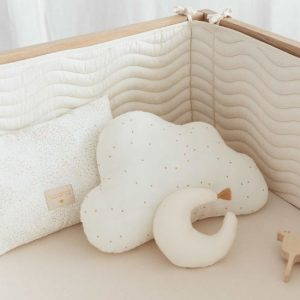 Cloud Wolk Kussen Honey Sweet Dots Natural van Nobodinoz - My Little Carpet