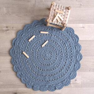 Gehaakt vloerkleed Alma Blue Grey van Nattiot - My Little Carpet